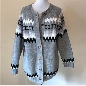 Vintage Cotton Point Oversized Cardigan Sweater